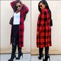 В моде Длинные Зимние Пальто Новый Длинным Рукавом Красный Черный Плед женская Кашемир Пальто Теплое Пальто Женский Верхняя Одежда и Куртки Большой размер