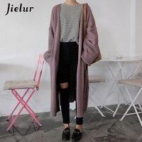 Jielur Streetwear Pockets Long Cardigan Feminino Korean Style Sweaters Fashion 2019 Women Purple Black Female Cardigans Winter