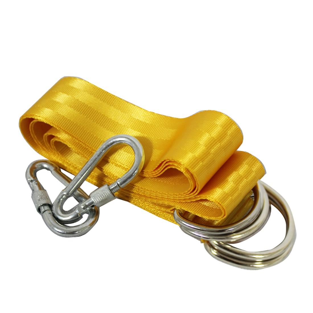 2 x Rope Lock Tie Strength Polyester Webbing Straps Safe Ropes Outdoor Swing Straps Hammock Straps Load 300KG Golden 5*150CM