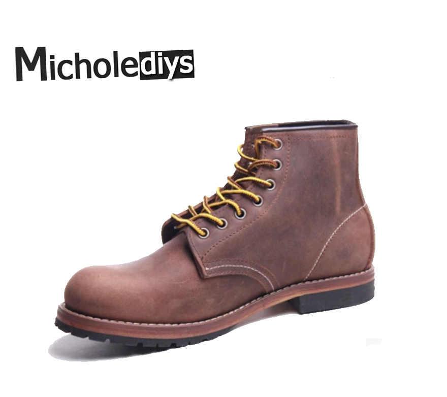 66cacf003995 2017 Micholediy Handmade Red Men Shoes Luxury Brand Martin Leather British  Winter boots Men's work Shoes