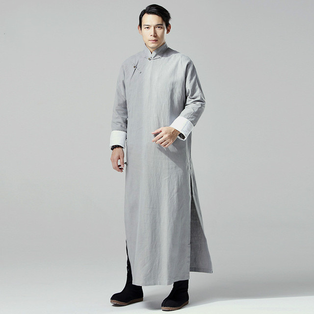 Chinese Traditional Dress Men Linen Long Robes Black Gray Hanfu Dress Plus Size Chinese Clothing Retro Robe Man Long Trench Coat