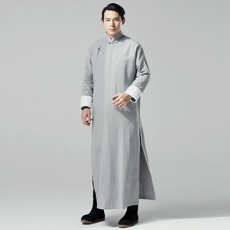d449b861171 Chinois Traditionnel Robe Hommes Mandarin Col Longue Robes Plus La Taille  Chinois Traditionnel Vêtements Linge Tranchée Manteaux Long Homme Robe dans  ...