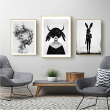 Black And White Painting Girl Nordic Poster  Scandinavian Abstract painting Decorative Picture Cuadros Decoracion Unframed
