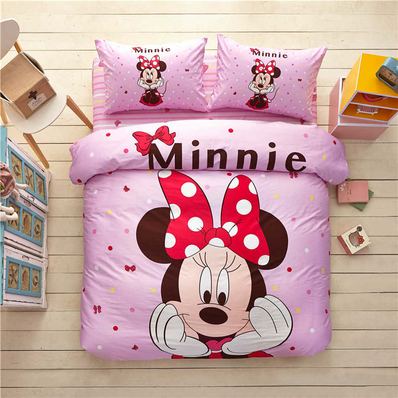 US $69.99 30% OFF|pink girl minnie mouse comforter bedding set single twin  full queen king size 3/4/5pc sweet disney 3d bed linens cotton kid gift-in  ...