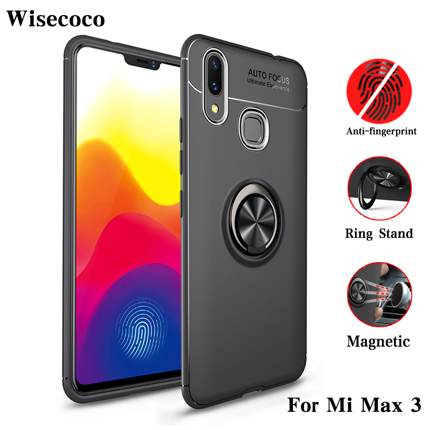 <font><b>Mi</b></font> <font><b>Max</b></font> <font><b>3</b></font> Case Magnetic Adsorption Cases for <font><b>Xiaomi</b></font> <font><b>Max</b></font> <font><b>3</b></font> Car Ring Holder Stand Soft Tpu Back Phone Cover for Xiomi Max3 Bumper image