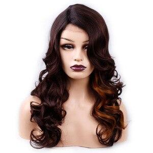 Image 3 - アミール180%密度合成波状毛レースフロントかつら用ブラック女性人間ハンドメイド髪ナチュラルブラックf1b/33ブラウンレッドカラー