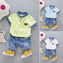 Boy T-shirt Neugeborenes Baby Kleidung Set Revers T-Shirt + Blue Jeans Set Urlaub Party Boy Baby Kleidung Set Kinder Kleidung