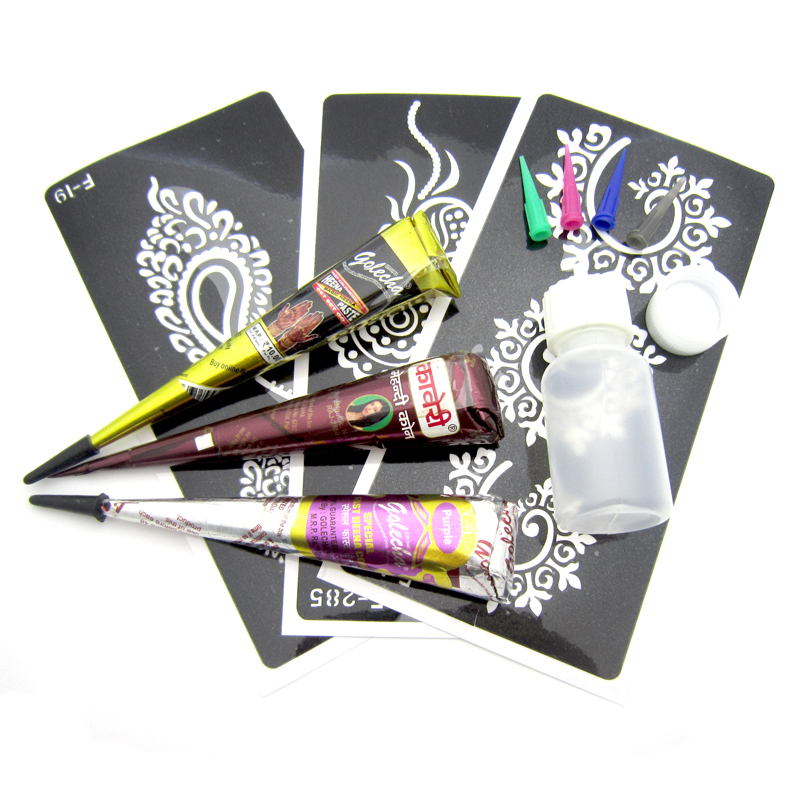 Henna Tattoo Color Brown: 3pcs Black Brown Red Colored Henna Tattoo Paste Cream Cone
