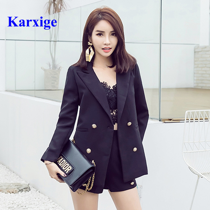 2017 leisure pure color elegant women office lady double breasted golden button female high end beauty