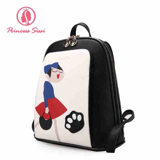 4064cca1bd6a Princess Sissi Women Backpack Red Leather Backpack Soft Printing Black Back  Bags For Girl Mini Small Backpack Women Luxury Brand