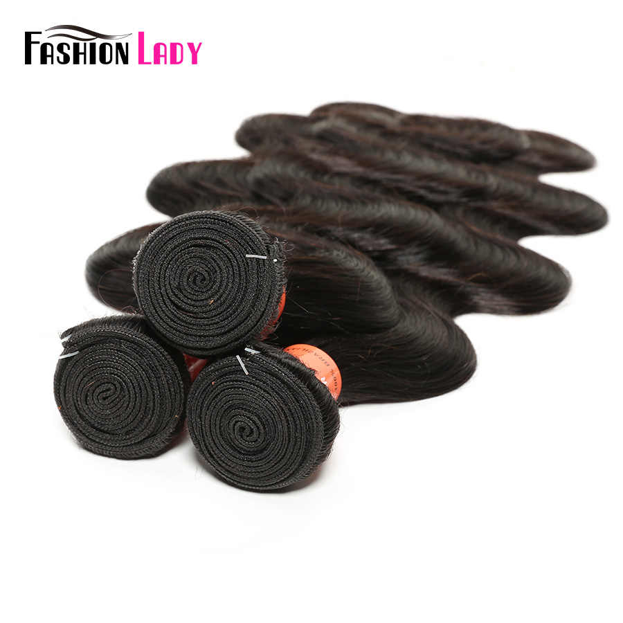 FASHION LADY 100% Human Hair Wave 3 Bundles Brazilian Body Wave Hair Bundles With 13x4 inch Lace Frontal Closure Remy Hair