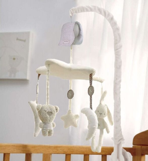 baby crib musical mobile cot bell music box with holder arm baby bed hanging rattle toys newborn. Black Bedroom Furniture Sets. Home Design Ideas