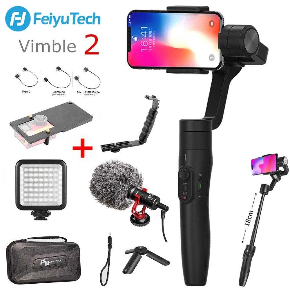 FeiyuTech Vimble 2 Feiyu 3 оси Ручной Стабилизатор на шарнирном замке для смартфона с 183 мм Полюс штатив для iPhone XS X 8 7 XIAOMI samsung