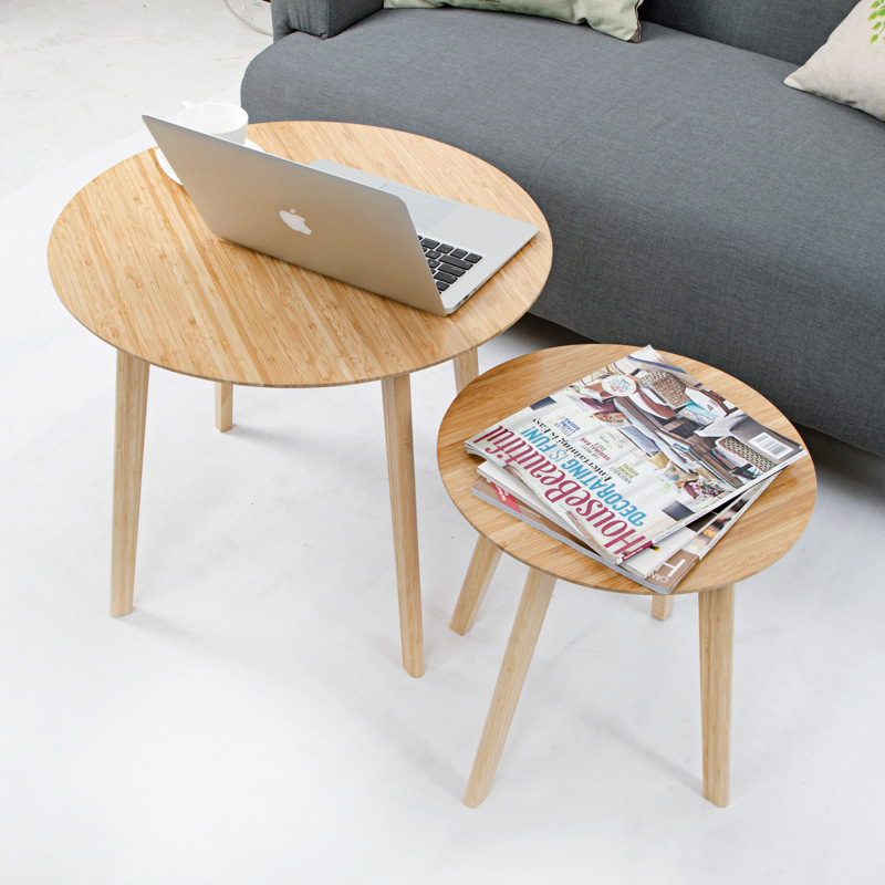 Modern Small Round Bamboo Coffee Tea Table Sofa Side Edge Table Casual Tatami Desk Nordic Living Room Hotel Decoration