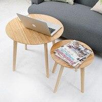 Modern Small Round Bamboo Coffee Tea Table Sofa Side Edge Table Casual Tatami Desk Nordic Living
