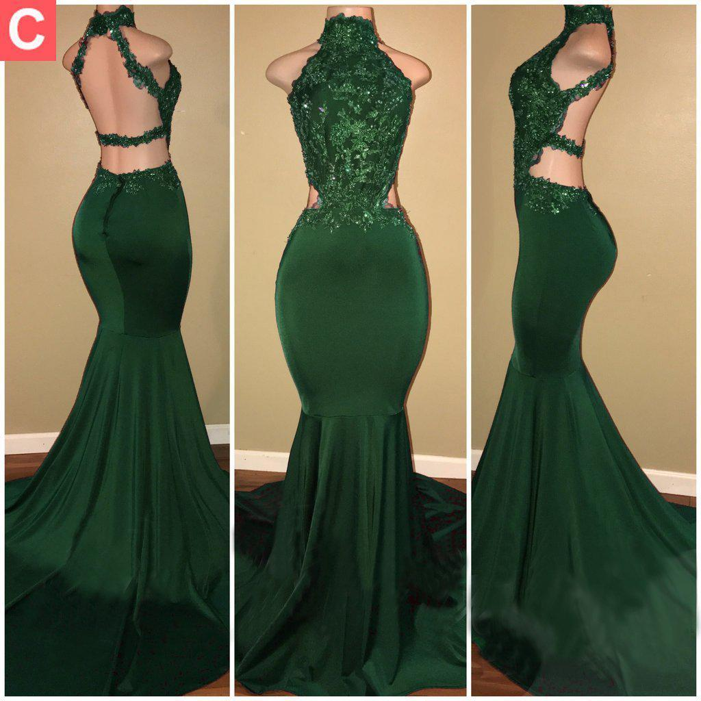 High Neck Dark Green   Prom     Dresses   with Beaded Appliques