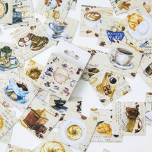 45pcs Box Kawaii Cute Coffee Workshop Paper Decoration Stationery Stickers Diy Diary Planner Label Stickers