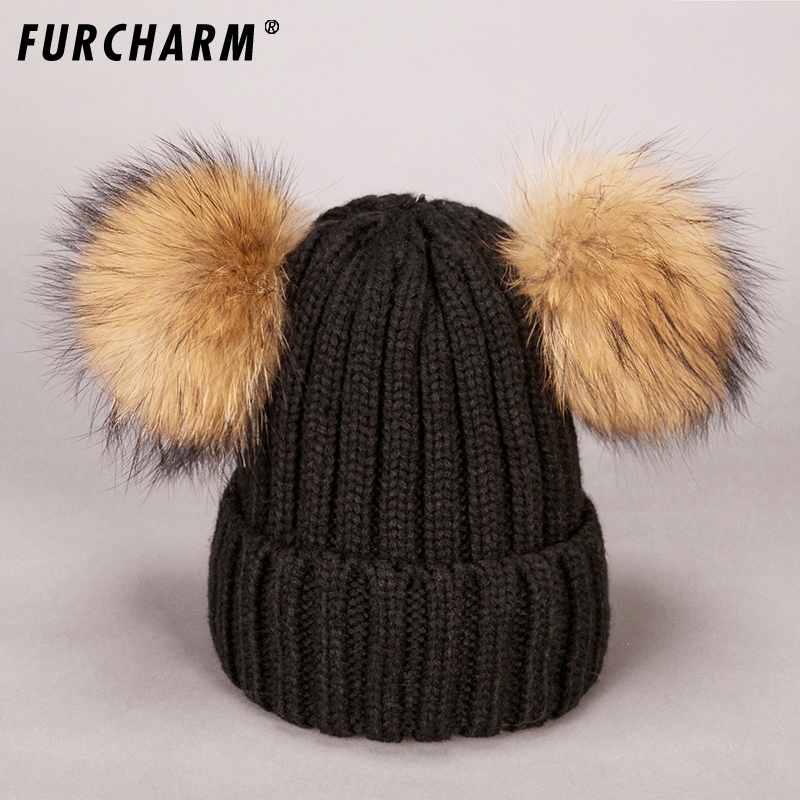 Lanxxy Winter Real Fur Ball Beanie Hat for Women Fluffy Raccoon Fur Pom Poms Skullies Beanies Hat With 2 Fur Pom Pom Girls Cap 12cm real mink fur ball keychain on the keys fluffy real fur pompom car for couples fur ball key chains fur cap beanie