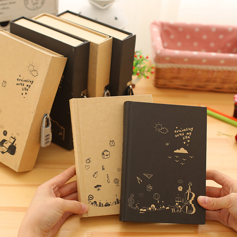 Hot Promo 194af Boxed Notebook Vintage Diary With Lock Hard