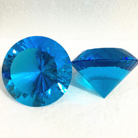 Multifaceted 150mm 1pcs Crystal Diamond Paperweight Home Office Table Decoration Lady Gift Aquamarine