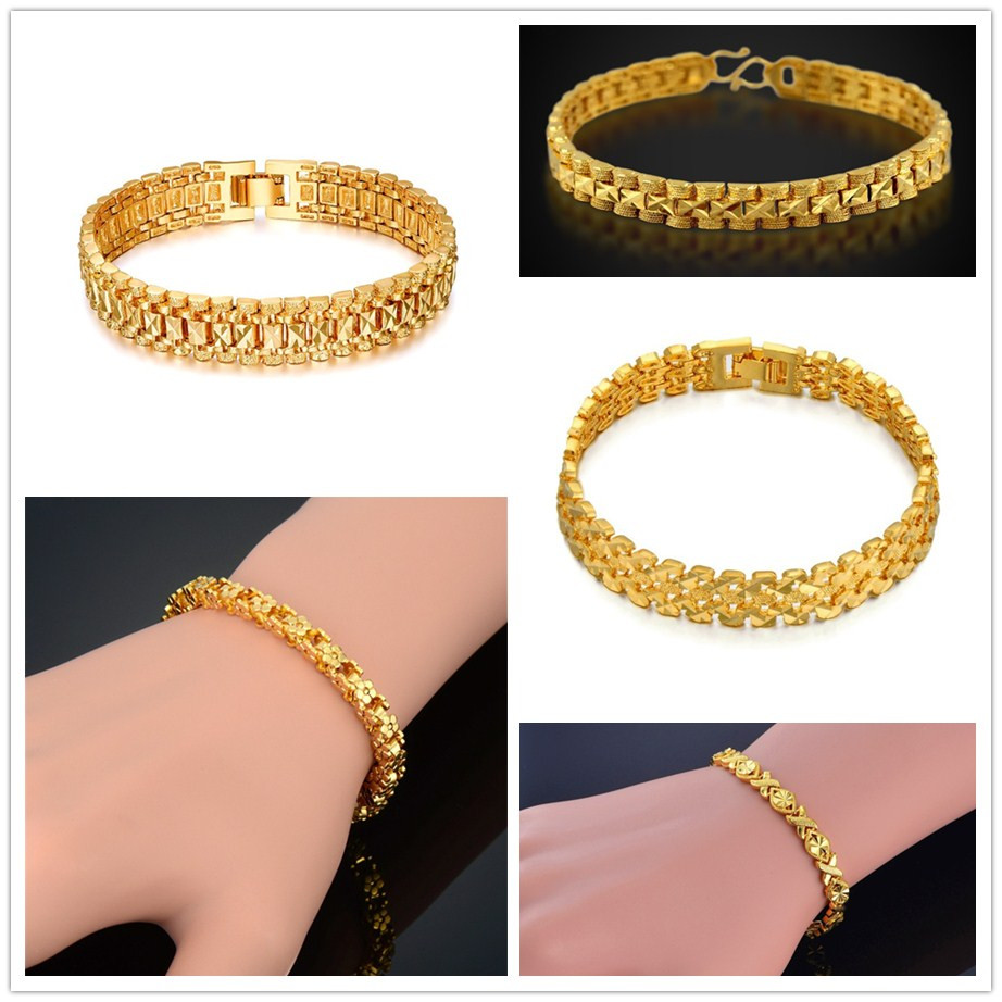 Best Sale 05497 Men 5 10mm Golden Curb Chain Link Bracelet Hip