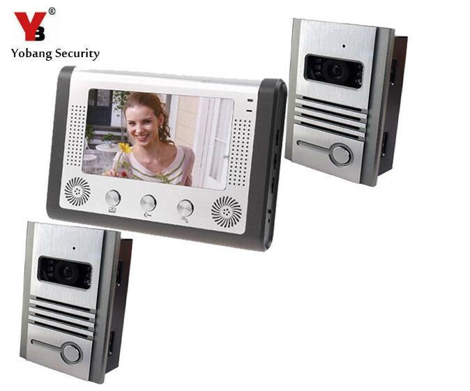 Yobang Security 7 TFT Video Intercom 2 Door Cameras Door Monitor Home Security Video Door Phone Home Door Access Control System