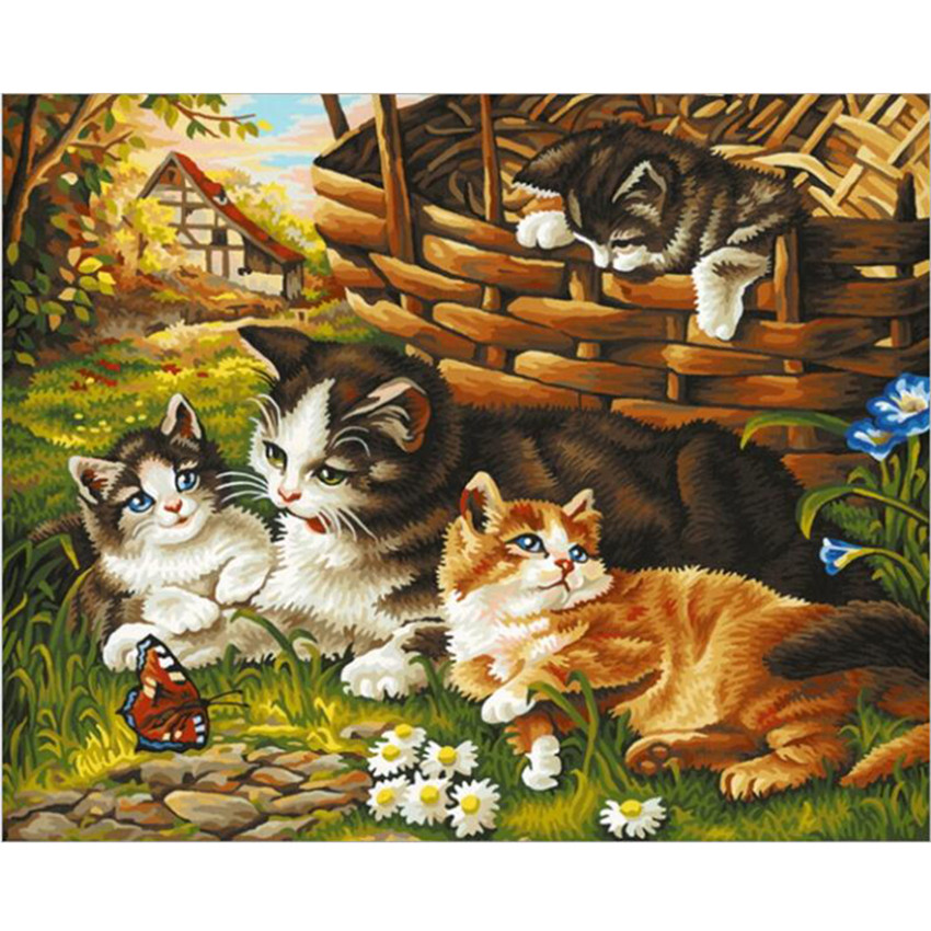 Diy Digital Painting By Numbers Package The Farm Cat Oil Painting Mural Kits Coloring Wall Art Picture Gift Frameless Home & Garden Arts,crafts & Sewing
