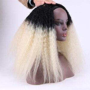 Image 4 - REYNA Kinky Straight hair extension 3 stuks een set hoge temperatuur synthetisch haar bundels voor vrouwen