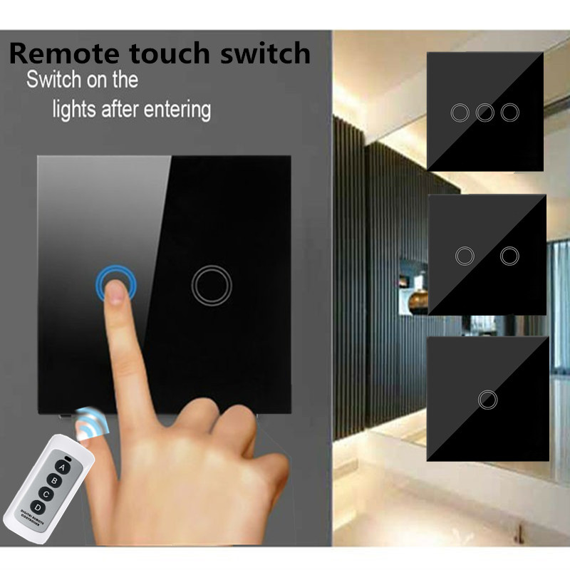 EU/UK Standard 1/2/3 Gang 1 Way Wireless remote control switch ,Black Crystal Glass Wall Touch Screen Light Switch+led indicator saful 12v remote wireless touch switch 1 gang 1 way crystal glass switch touch screen wall switch for smart home light