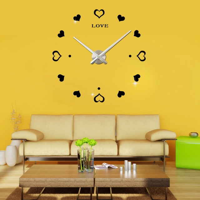 2016 new arrival 3d home decor watches heart real big wall clock ...
