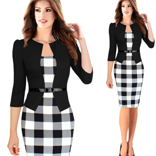 Elegant Plaid Pencil Dress Office Wear