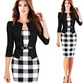 Nova Moda Primavera Outono Das Mulheres do Estilo Formal Bodycon Vestido Elegante Plus Size Lápis Xadrez Vestidos de Desgaste Do Escritório Das Mulheres Roupa de Trabalho