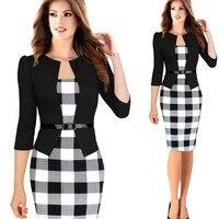 New Fashion Spring Autumn Style Women Formal Bodycon Dress Elegant Plus Size Plaid Pencil Dresses Office