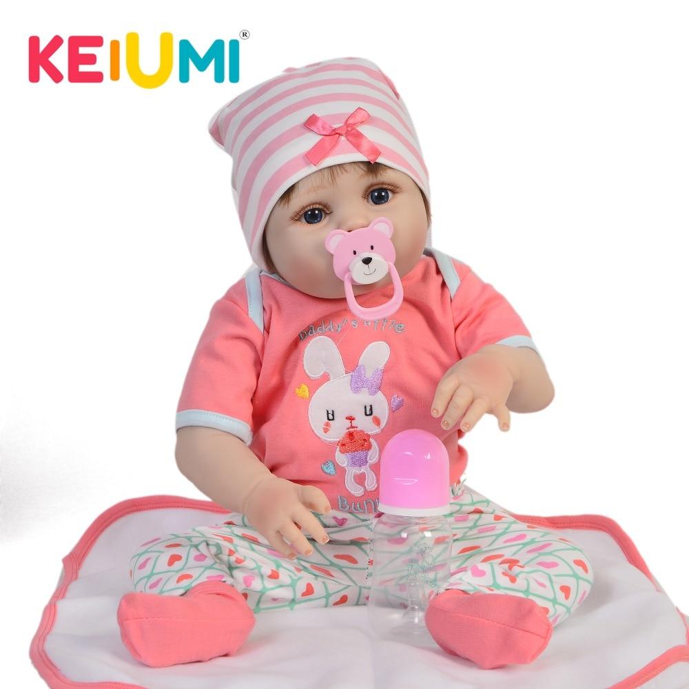 KEIUMI Full Silicone Vinyl 23 57 cm Fashion Reborn Menina Baby Toy Lifelike Reborn Baby Dolls