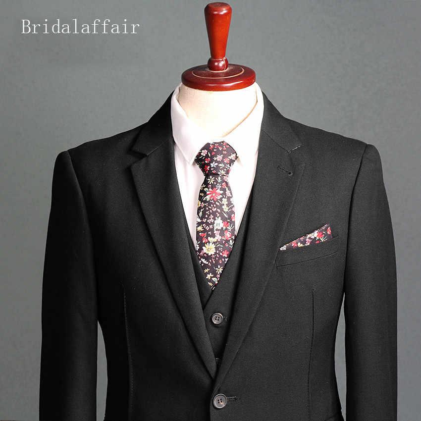 Bridalliaison un bouton hommes costumes mariage marié smoking (veste + pantalon + gilet) 3 pièces dernier manteau pantalon conceptions formelle costume noir
