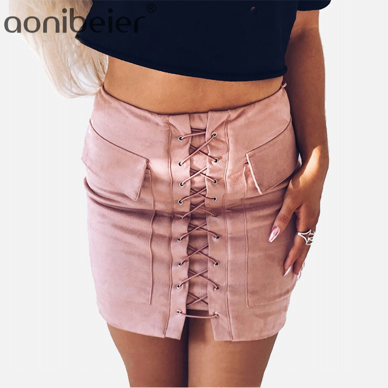 694122182 Aonibeier faldas cortas de ante de encaje de primavera para mujer con  cierre de cintura alta y cierre ceñido al cuerpo faldas sexis con dos  bolsillos ...