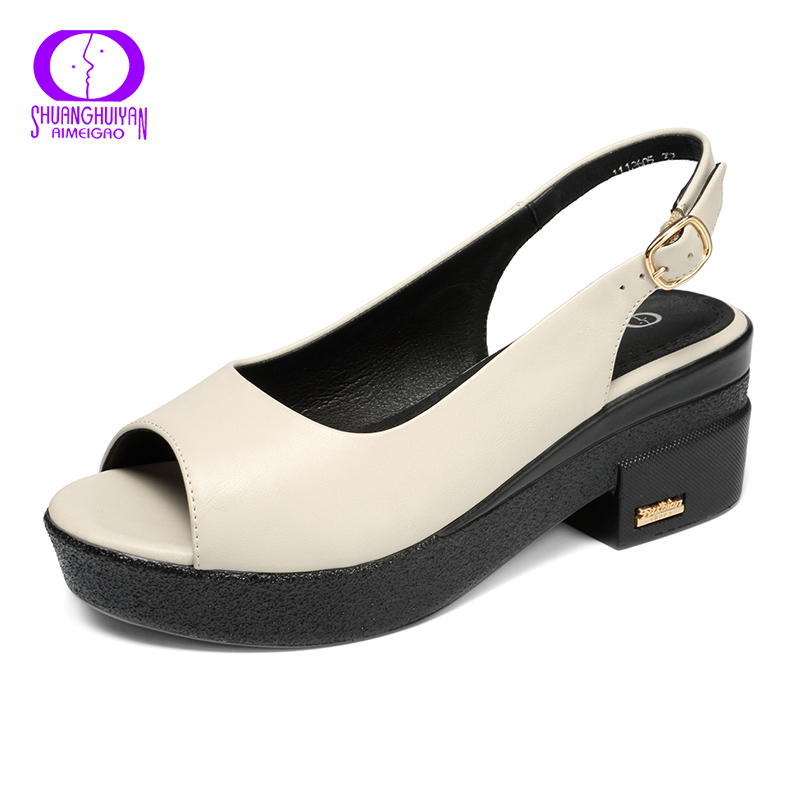AIMEIGAO New Summer Buckle Sandals Platforms Heels Ladies Shoes Women Open Toe Sandals Comfortable Thick Heel Women Shoes
