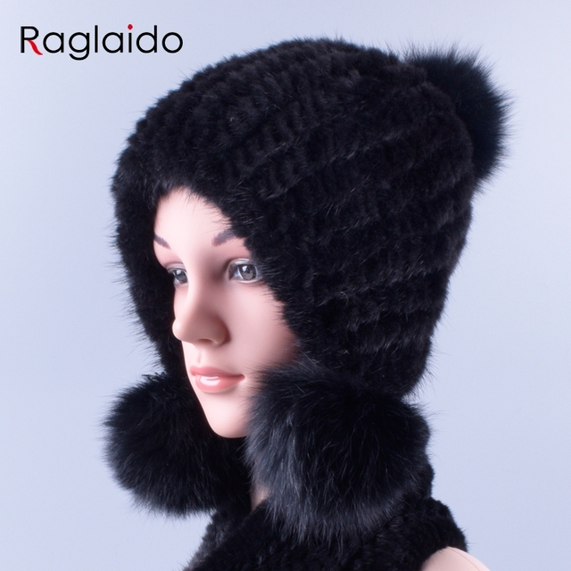 53ee8c69f91 Russian Real Mink Fur Hats for Women Winter Knitted Genuine Natural Fur Cap  with balls ears pompom luxury beanies LQ11255