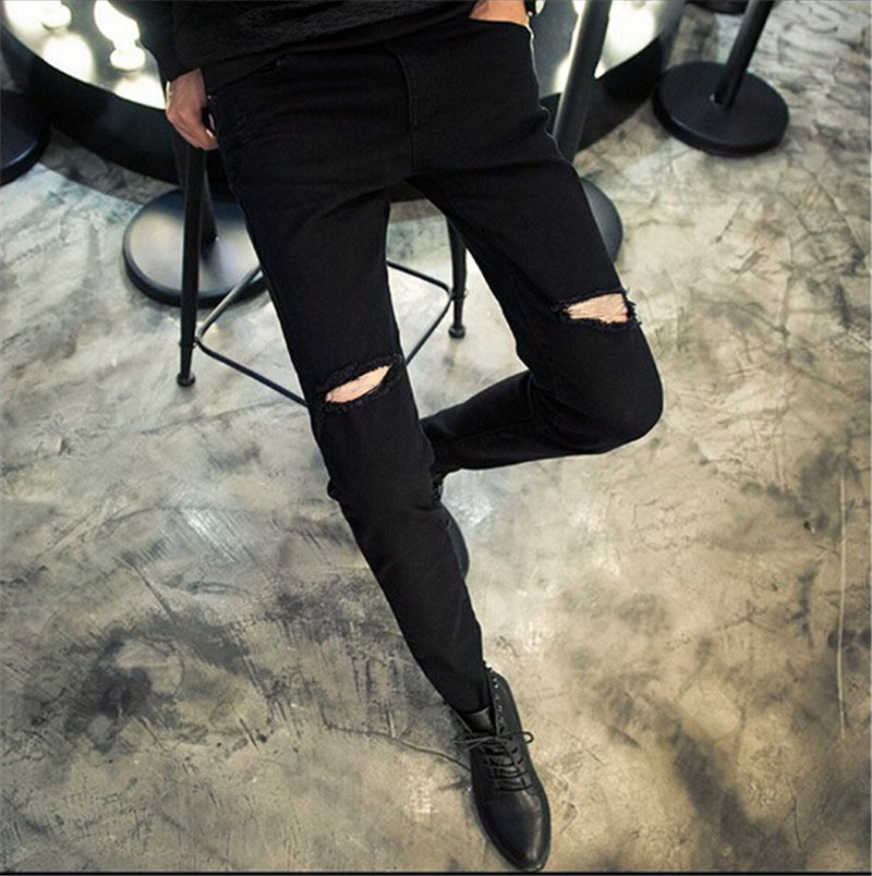 2015 Summer Mens Destroyed Denim Jeans Cool Slim Fit Street Style Black Ripped Jeans Pants Men