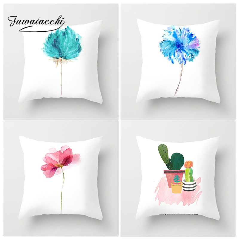 Fuwatacchi Simple Painting Flower Feather Cushion Cover Flamingo Pineapple Leaves Solid Pillow Case Home Decoration Accessories-in Cushion Cover from Home & Garden