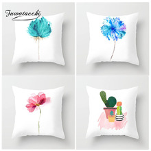 цены на Fuwatacchi Simple Painting Flower Feather Cushion Cover Flamingo Pineapple Leaves Solid Pillow Case Home Decoration Accessories  в интернет-магазинах