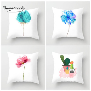 Image 1 - Fuwatacchi Simple Painting Flower Feather Cushion Cover Flamingo Pineapple Leaves Solid Pillow Case Home Decoration Accessories