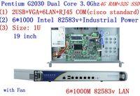 firewall server Network rack 1U routers with 6*1000M 82583V Gigabit Inte Pentium G2030 3.0Ghz 4G RAM 32G SSD