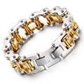 Heyrock 22mm Heavy Mens Silver and Gold Plated Tone Biker Motorcycle Chain 316L Stainless Steel Bracelet