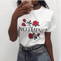 2017 New Fashion Summer Casual Short Sleeve TShirt Rose Harajuku T Shirt Women Nothing Letter Print