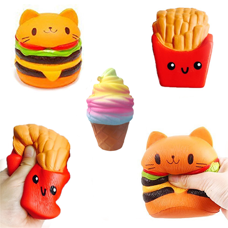 2018 Jumbo Squishy Toys Children Slow Rising Antistrss Toy Cat Hamburger Fries Squishies Stress Relief Toy Funny Kids Gift toy push along walking toy wooden animal patterns funny kids children baby walker toys duckling dog cat development eduacational toy