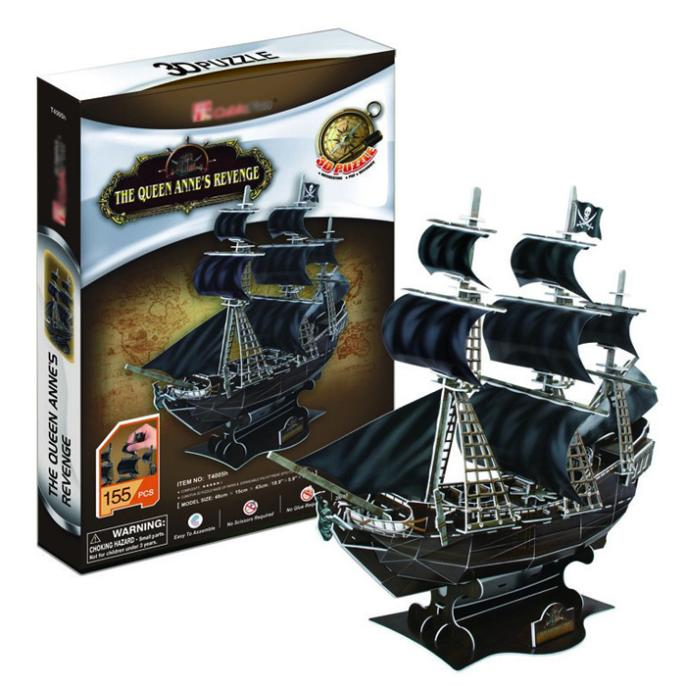 T0407 3D Puzzles Pirates Of The Caribbean Queen Revenge/Black Pearl Ship Paper Model Kids Creative Gifts Educational Toys