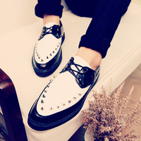 Patent Leather Men S Shoes Rivets Leopard Shoes Pointed Korean Youth Club Men Leather Loafers Flats