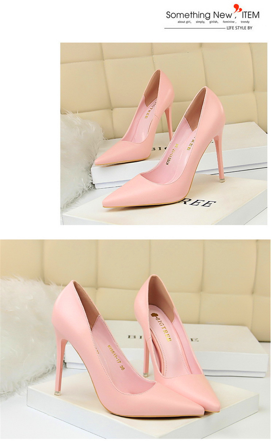 BIGTREE Soft Leather Shallow Fashion Women's High Heels Shoes Candy Colors Pointed Toe Women Pumps Show Thin Female Office Shoe 14