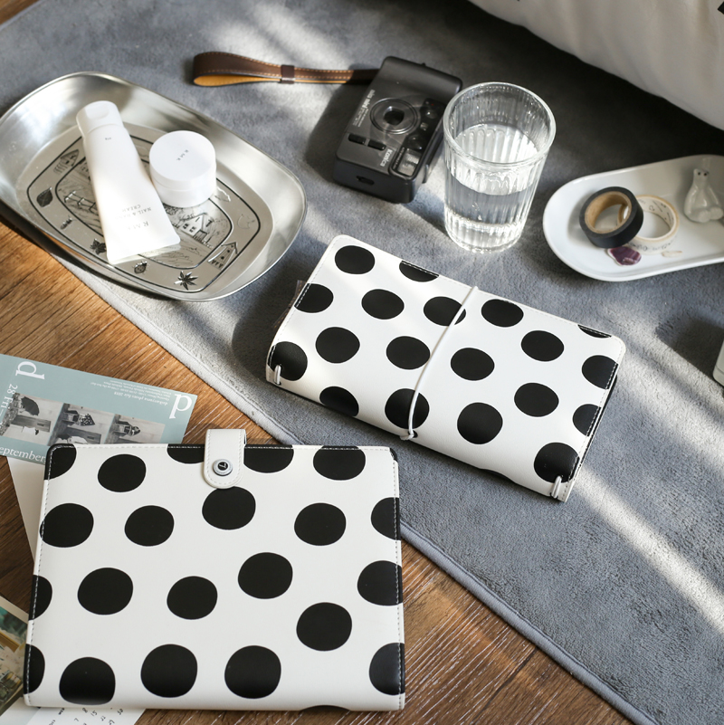 Lovedoki Creative Black & White Dots Travelers Notebook Bullet Journals Planner Diary Book School And Office Supplies Stationery